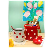 Red and White Polka-dot Still Life Poster