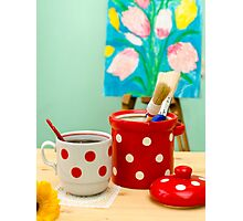 Red and White Polka-dot Still Life Photographic Print