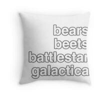 bears, beets, battlestar galactica Throw Pillow