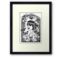 The Lady in the Floral Butterfly Window. Framed Print
