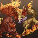 Vulpix and Fennekin Fireplay by EosFoxx