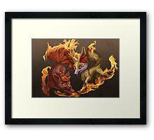 Vulpix and Fennekin Fireplay Framed Print