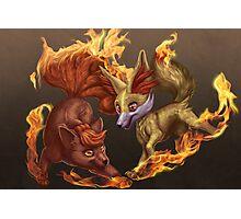 Vulpix and Fennekin Fireplay Photographic Print