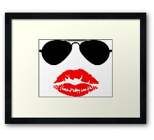 Aviator Sunglasses and Kiss Framed Print