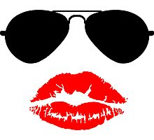 Aviator Sunglasses and Kiss Photographic Print