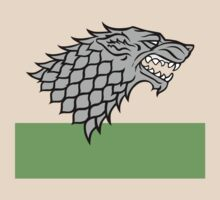 House Stark sigil - Dire Wolf on white and green by Artpunk101