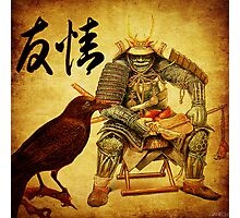 The old samurai and his faithful friendly the crow Photographic Print