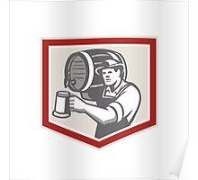 Barman Lifting Barrel Pouring Beer Mug Retro Poster