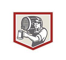 Barman Lifting Barrel Pouring Beer Mug Retro Photographic Print