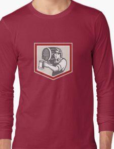 Barman Lifting Barrel Pouring Beer Mug Retro Long Sleeve T-Shirt