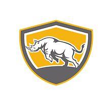 Rhinoceros Charging Side Shield Retro by patrimonio