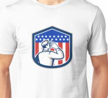 American Soldier Saluting Flag Shield Unisex T-Shirt