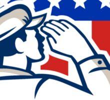 American Soldier Saluting Flag Shield Sticker