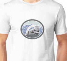 Steam Train Locomotive Mountains Retro Unisex T-Shirt