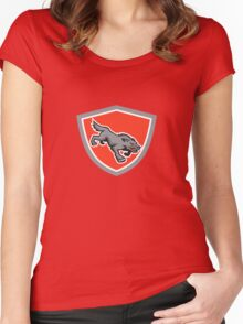 Angry Wolf Wild Dog Stalking Shield Retro Women's Fitted Scoop T-Shirt