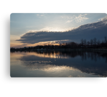 Just Before Sunset - Gray Clouds and Ripples  Canvas Print