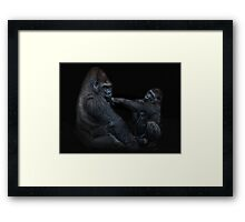 Daddy, is a left hook like this? Framed Print