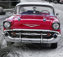 Old Red Chevy BelAir at the beach by Edward Fielding