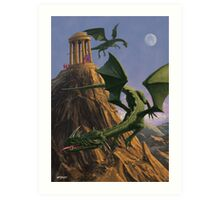 Dragons flying around a temple on mountain top  Art Print