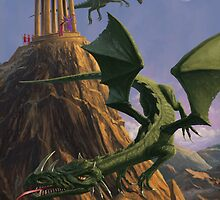 Dragons flying around a temple on mountain top  by martyee
