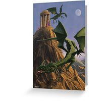 Dragons flying around a temple on mountain top  Greeting Card