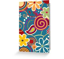 Hip 60's Floral pattern  Greeting Card