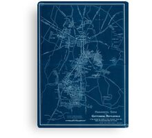 Civil War Maps 1172 Monumental guide to the Gettysburg battlefield A map showing the location of every monument marker and tablet with approaching roads and avenues Inverted Canvas Print