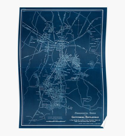 Civil War Maps 1172 Monumental guide to the Gettysburg battlefield A map showing the location of every monument marker and tablet with approaching roads and avenues Inverted Poster