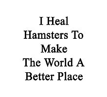 I Heal Hamsters To Make The World A Better Place  Photographic Print