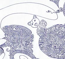 Blue Cat Doodle Drawing by creationsbyjdb