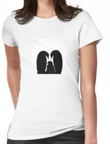 Penguin Family in Front of a Full Moon  Womens Fitted T-Shirt