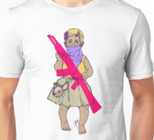 Baby Girl Carrying an Imaginary Gun/ Bebe llevando una pistola Imaginaria Unisex T-Shirt