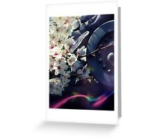 Cherry blossoms, light and temple roof. Greeting Card