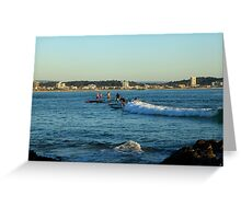 Surfing Main Street Greeting Card