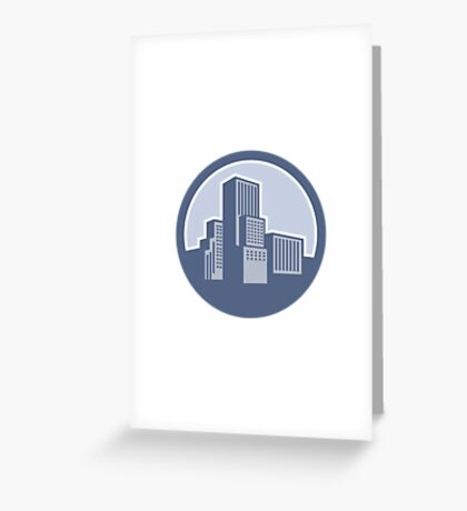 Urban Skyscraper Buildings Circle Greeting Card