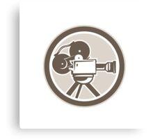 Film Movie Camera Vintage Circle Retro Canvas Print