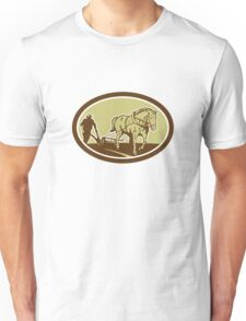 Horse and Farmer Plowing Farm Oval Retro Unisex T-Shirt