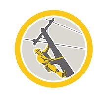 Power Lineman Repairman Climbing Pole Circle by patrimonio