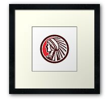Native American Warrior Chief Circle Framed Print