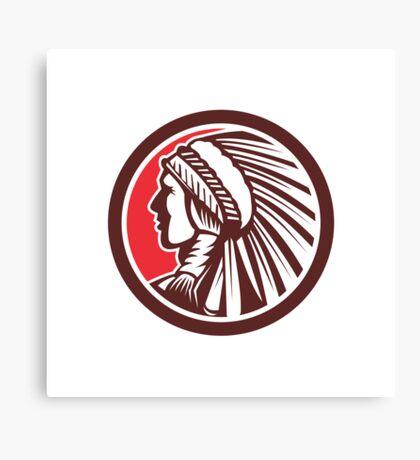 Native American Warrior Chief Circle Canvas Print