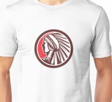 Native American Warrior Chief Circle Unisex T-Shirt