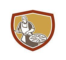 Pizza Maker Baking Bread Shield Retro by patrimonio