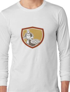 Pizza Maker Baking Bread Shield Retro Long Sleeve T-Shirt