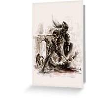 Crusader knight Templar knight long sword warrior demons and skull poster horror movie Dungeons&Dragons scary poster Knight wall decor mens cool gift axeman knight Greeting Card