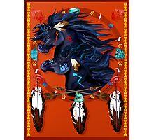 Two Black Horses Mandala Poster Photographic Print