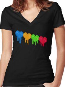 8-Bit Retro Love! Women's Fitted V-Neck T-Shirt