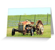 Old Tractor & Bluebonnets Greeting Card