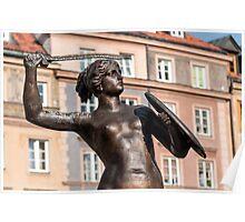 Mermaid statue in Warsaw. Poster