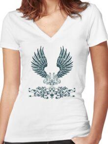 Black Angel Wings Women's Fitted V-Neck T-Shirt
