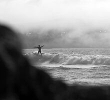 Surfers In The Mist by Mark Hobbs